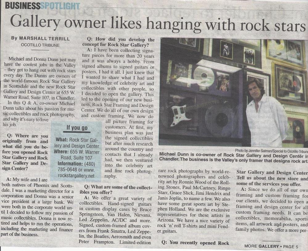Press, Rock Star gallery, music memorabilia, Signed RockROCK