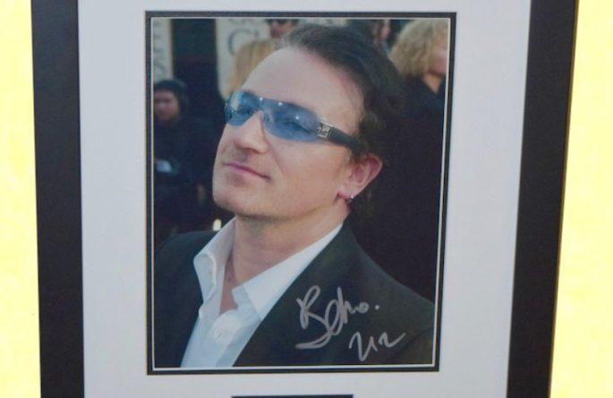 #7-U2 Bono Signed 8×10 Photograph