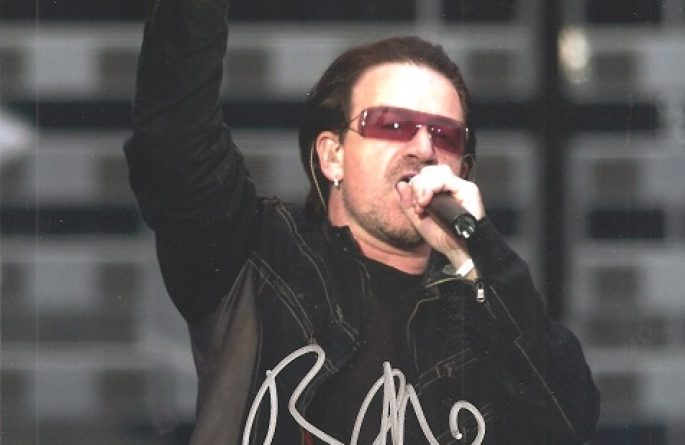 #6-U2 Bono Signed 8×10 Photograph