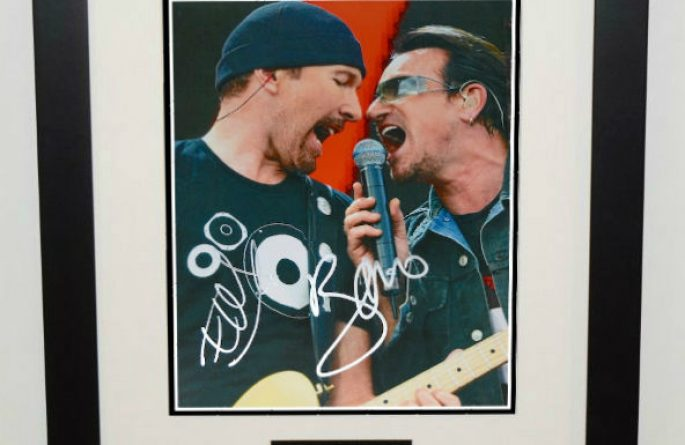 #1-U2 The Edge and Bono Signed 8×10 Photograph