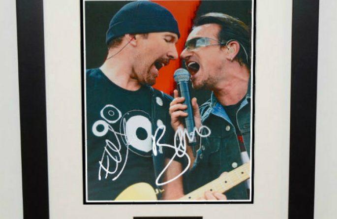 #1-U2 – The Edge and Bono Signed 8×10 Photograph