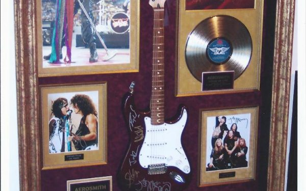 #1 Aerosmith Signed Guitar Display