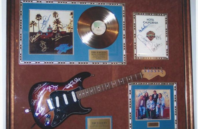 #3 Eagles Signed Guitar Display