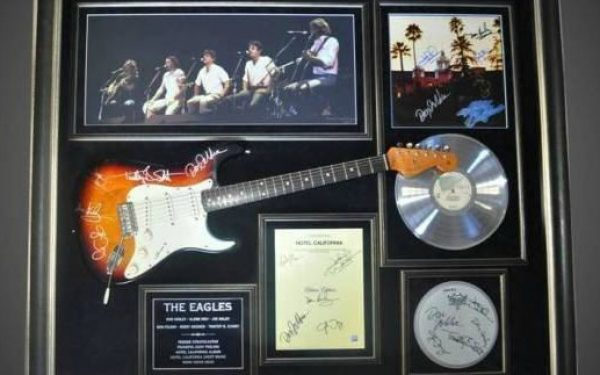#1 Eagles Signed Guitar Display