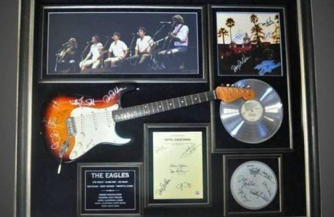 #1 Eagles Signed Guitar Display