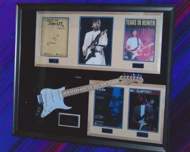 eric clapton signed guitar display rock star galleryrock star gallery. Black Bedroom Furniture Sets. Home Design Ideas