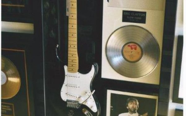 #1 Eric Clapton Signed Guitar Display