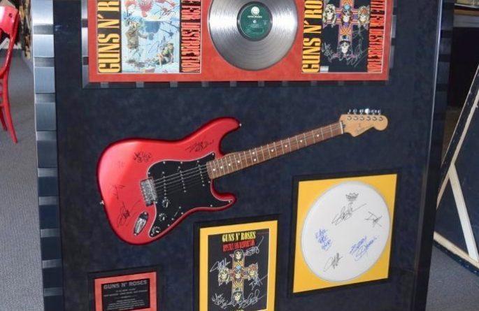 #1 Guns N' Roses Signed Guitar Display