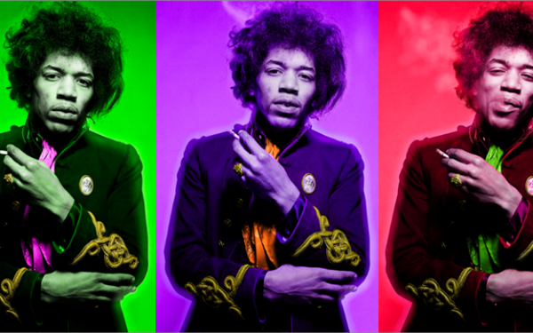 Jimi Hendrix Smoking Color Triptych
