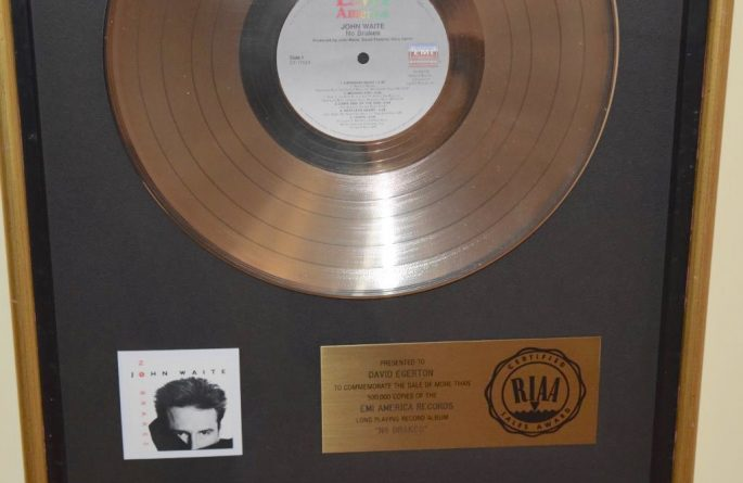 John Waite RIAA Award For No Brakes