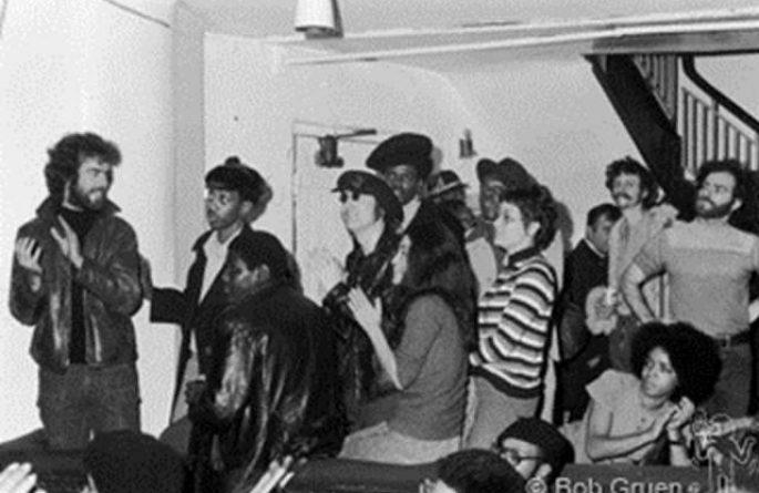 John Lennon & Yoko Ono with Friends Backstage, Apollo Theatre, NYC, 1971