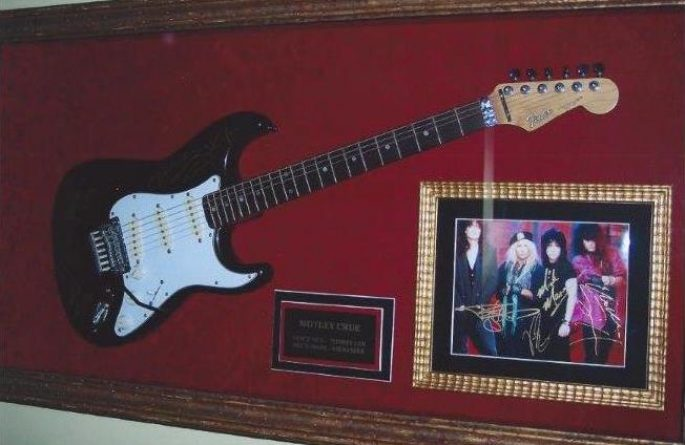 Motley Crue Signed Guitar Display