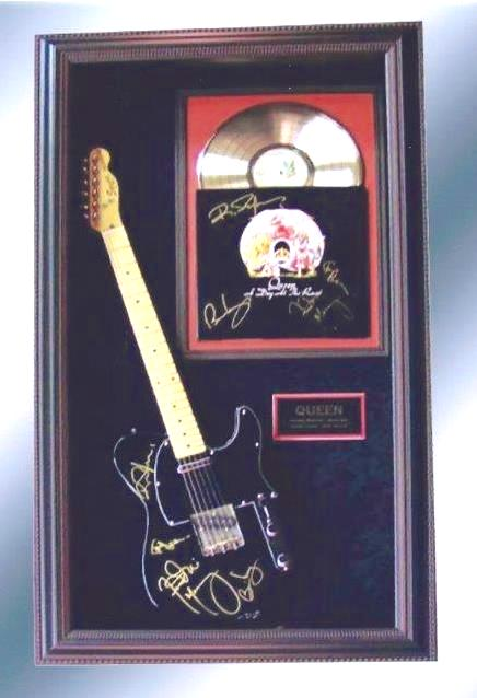 queen signed guitar display rock star gallery authenticityrock star gallery. Black Bedroom Furniture Sets. Home Design Ideas