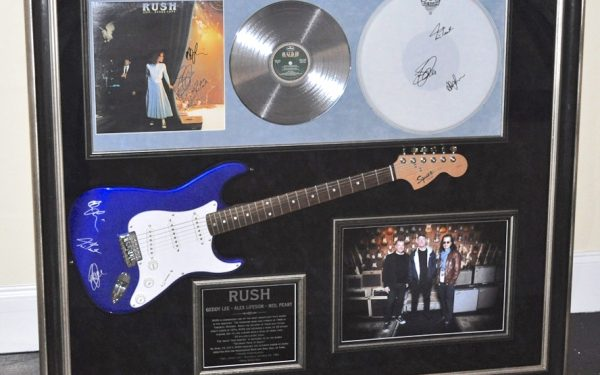 Rush Signed Guitar Display