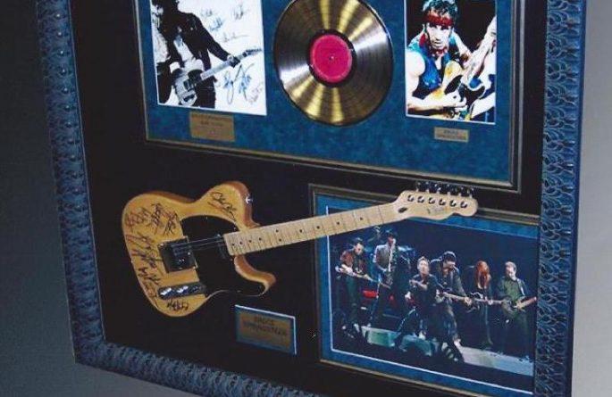 #1 Bruce Springsteen Signed Guitar Display
