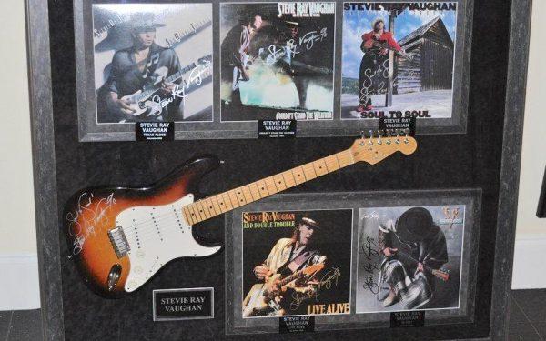 #1 Stevie Ray Vaughan Signed Guitar Display