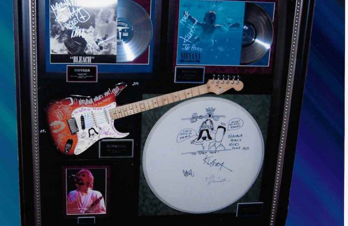 #2-Nirvana Signed Guitar Display